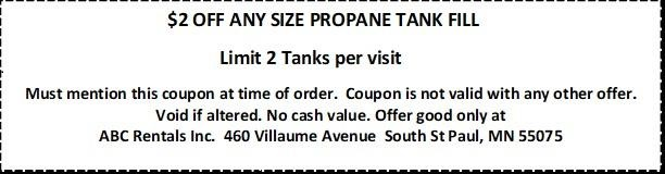 $2 off any size Propane Tank Refill at ABC Rentals